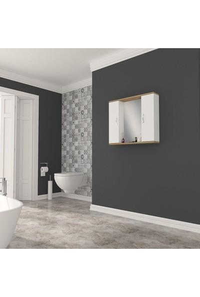 Banos AD3 Metal Kulplu 2 Kapaklı Beyaz Ceviz Mdf 80 cm Aynalı Banyo Üst Dolabı