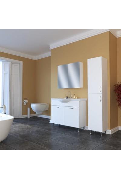 Banos TM1 Metal Ayaklı 2 Kapaklı Lavabolu Beyaz Mdf 100 cm Banyo Dolabı + Aynalı Banyo Üst Dolabı + Banyo Boy Dolabı