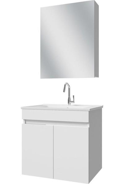 Banos AL3 Ayaksız 2 Kapaklı Lavabolu Beyaz Mdf 65 cm Banyo Dolabı + Aynalı Banyo Üst Dolabı