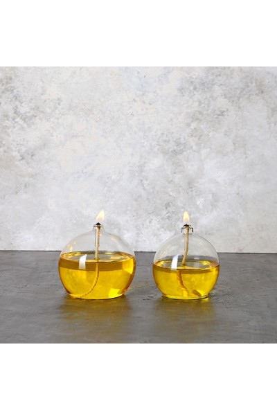 Prv Pruva Balon Dekoratif Cam Kandil 2'li Set + 500 ml Sarı Kandil Yağı