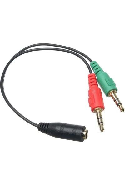 Mi7a Mikrofon ve Kulaklık Ayırıcı Birleştirici Splinter Kablo 2 Erkek 1 Dişi