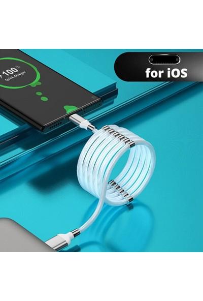 Smart Tech Type-C Mıknatıslı Kendini Toplayan USB Hızlı Şarj ve Data Kablosu