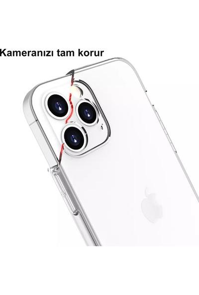CepStok Apple iPhone 12 Pro Max Kılıf Şeffaf 3D Kamera Lens Korumalı Tıpalı Şarj Korumalı Silikon