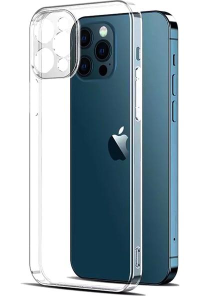 CepStok Apple iPhone 12 Mini Kılıf Şeffaf 3D Kamera Lens Korumalı Tıpalı Şarj Korumalı Silikon