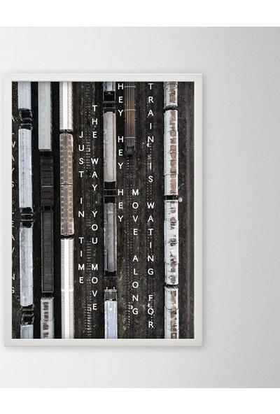 Polnight Train Station Illüstrasyon Duvar Dekorasyon Dijital Baskı Tablo Mdf Beyaz Çerçeve Poster