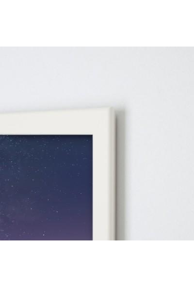 Polnight Interstellar Galaksi - Uzay Duvar Dekorasyon Dijital Baskı Tablo Mdf Beyaz Çerçeve Poster