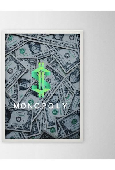 Polnight Monopoly Motto Duvar Dekorasyon Dijital Baskı Tablo Mdf Beyaz Çerçeve Poster