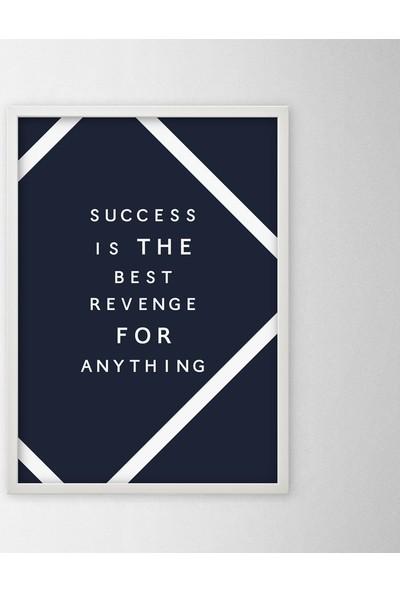 Polnight Success Motto Duvar Dekorasyon Dijital Baskı Tablo Mdf Beyaz Çerçeve Poster