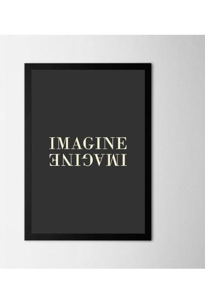 Polnight Imagine Motto Duvar Dekorasyon Dijital Baskı Tablo Mdf Siyah Çerçeve Poster