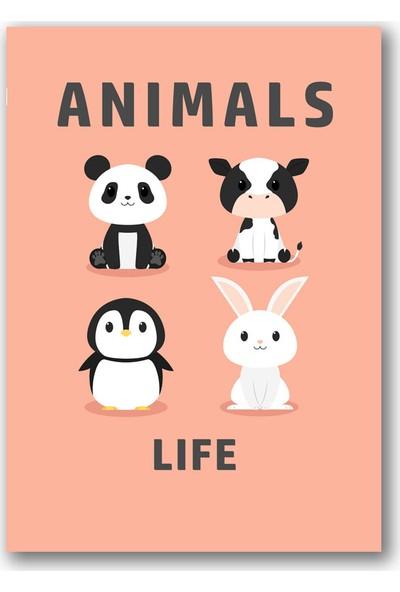 Polnight Animals Life Çocuk Duvar Dekorasyon Dijital Baskı Tablo Çerçevesiz Poster