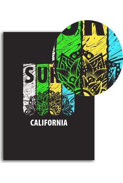 Polnight Surf Minimalist Duvar Dekorasyon Dijital Baskı Tablo Mdf Beyaz Çerçeve Poster