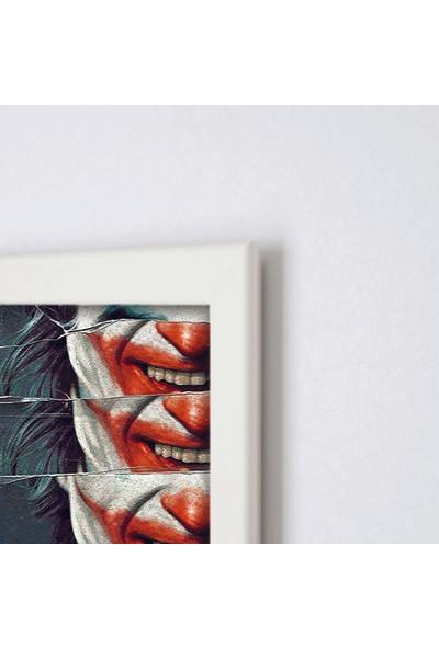Polnight Joker Face Film - Dizi Duvar Dekorasyon Dijital Baskı Tablo Mdf Beyaz Çerçeve Poster