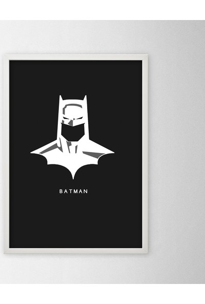 Polnight Batman Face Film - Dizi Duvar Dekorasyon Dijital Baskı Tablo Mdf Beyaz Çerçeve Poster