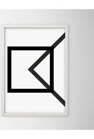 Polnight Symmetry Square Triangle Simetri Duvar Dekorasyon Dijital Baskı Tablo Mdf Beyaz Çerçeve Poster