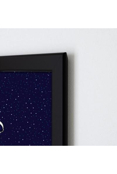 Polnight More Space Çocuk Duvar Dekorasyon Dijital Baskı Tablo Mdf Siyah Çerçeve Poster