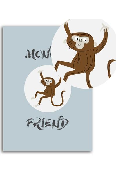 Polnight Monkey Friends Çocuk Duvar Dekorasyon Dijital Baskı Tablo Mdf Siyah Çerçeve Poster
