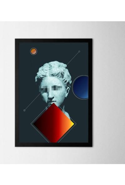 Polnight Sculpture Sanat Duvar Dekorasyon Dijital Baskı Tablo Mdf Siyah Çerçeve Poster