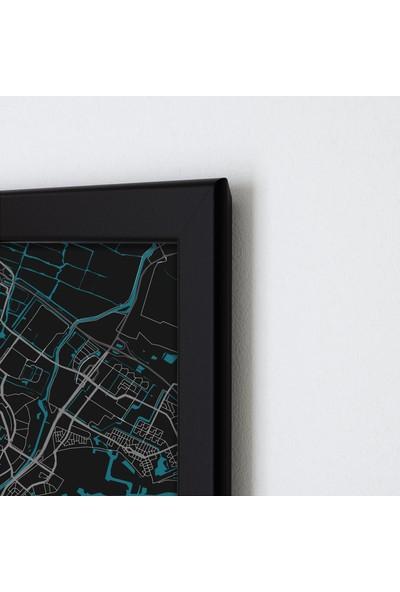 Polnight Amsterdam City Şehirler Duvar Dekorasyon Dijital Baskı Tablo Mdf Siyah Çerçeve Poster