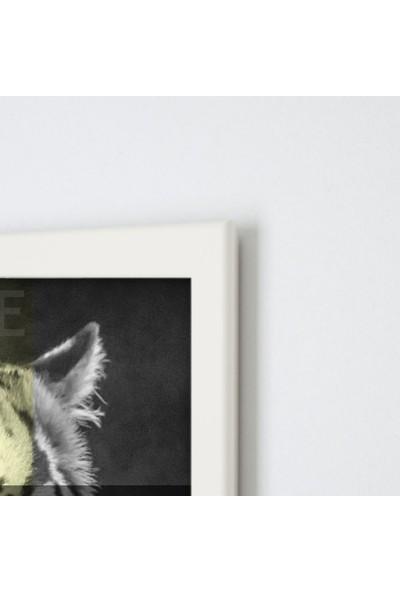 Polnight Be Tiger Illüstrasyon Duvar Dekorasyon Dijital Baskı Tablo Mdf Beyaz Çerçeve Poster