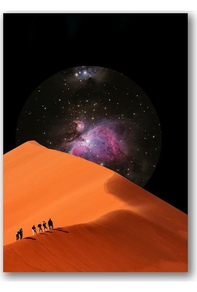 Polnight Desert Way To Galaxy Galaksi - Uzay Duvar Dekorasyon Dijital Baskı Tablo Çerçevesiz Poster