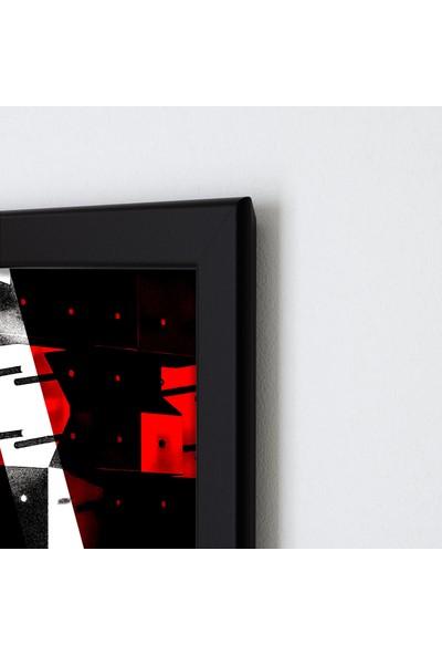 Polnight Red Concrete Sanat Duvar Dekorasyon Dijital Baskı Tablo Mdf Siyah Çerçeve Poster