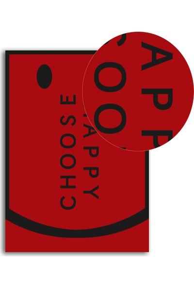 Polnight Choose Happy Motto Duvar Dekorasyon Dijital Baskı Tablo Mdf Beyaz Çerçeve Poster