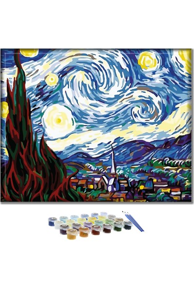 Doruk Baskı Yıldızlı Geceler Sayılarla Boyama Seti 40 x 50 cm