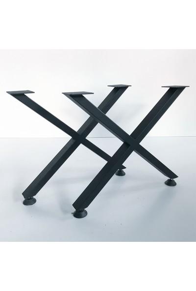 Metal Tasarım - x - Dekoratif Metal Ayaklı Orta Sehpa - Atlantik Çam