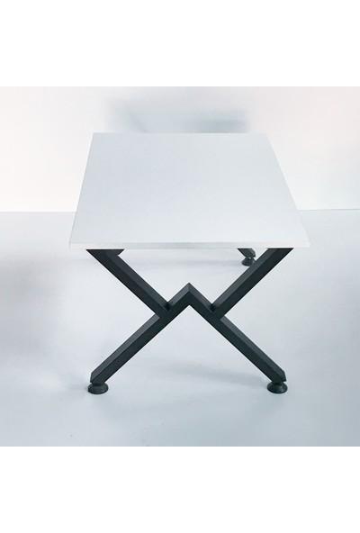 Metal Tasarım - V - Dekoratif Metal Ayaklı Orta Sehpa - Beyaz