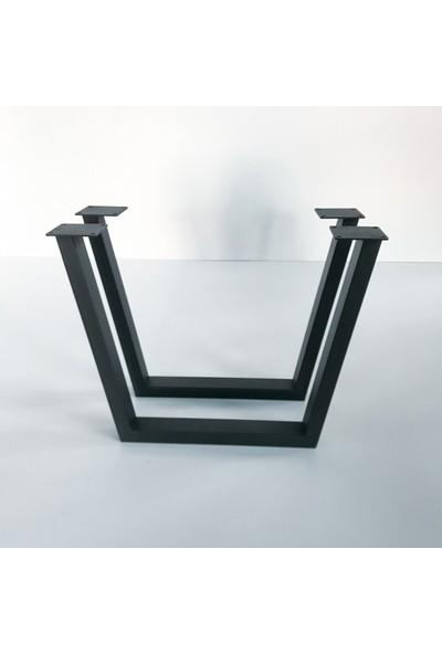 Metal Tasarım - Açılı Ayak - Dekoratif Metal Ayaklı Orta Sehpa - Atlantik Çam