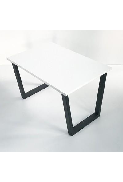 Metal Tasarım - Açılı Ayak - Dekoratif Metal Ayaklı Orta Sehpa - Beyaz