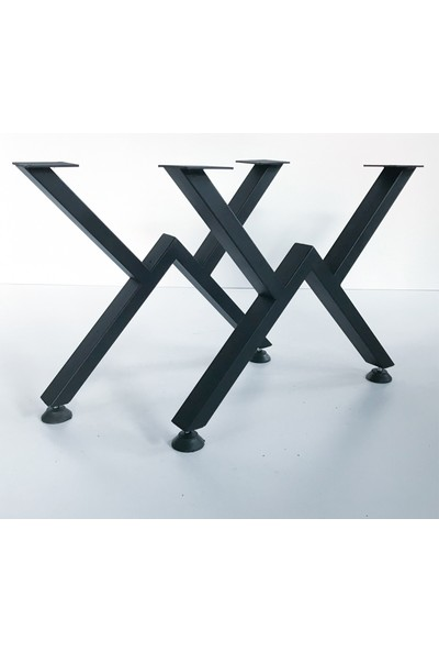 Metal Tasarım - V - Dekoratif Metal Ayaklı Orta Sehpa - Siyah Mermer Desen