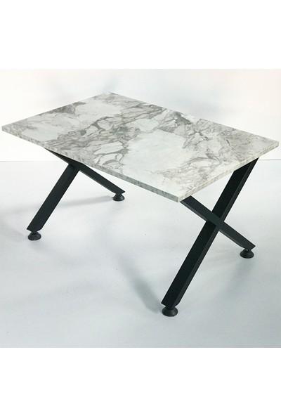 Metal Tasarım - x - Dekoratif Metal Ayaklı Orta Sehpa - Beyaz Mermer Desen