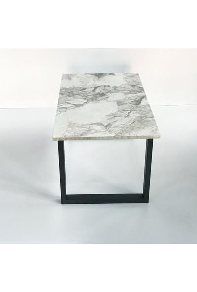 Metal Tasarım - U - Dekoratif Metal Ayaklı Orta Sehpa - Beyaz Mermer Desen