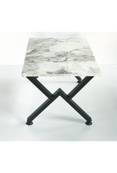 Metal Tasarım - V - Dekoratif Metal Ayaklı Orta Sehpa - Beyaz Mermer Desen