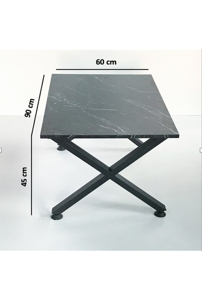 Metal Tasarım - x - Dekoratif Metal Ayaklı Orta Sehpa - Siyah Mermer Desen