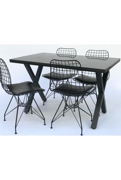 Metal Tasarım Mta x Siyah Mermer Desen Metal Ayaklı Mutfak Masası Takımı Masa Sandalye Takımı Yemek Masası - 4 Sandalye