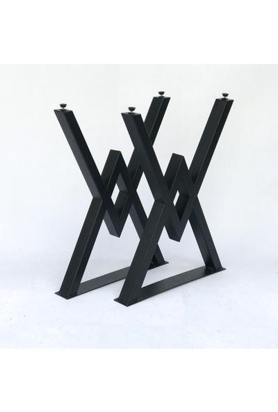 Metal Tasarım Mta W Siyah Mermer Desen Metal Ayaklı Mutfak Masası Takımı Masa Sandalye Takımı Yemek Masası - 4 Sandalye