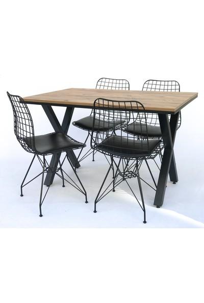 Metal Tasarım Mta x Atlantik Çam Metal Ayaklı Mutfak Masası Takımı Masa Sandalye Takımı Yemek Masası - 4 Sandalye