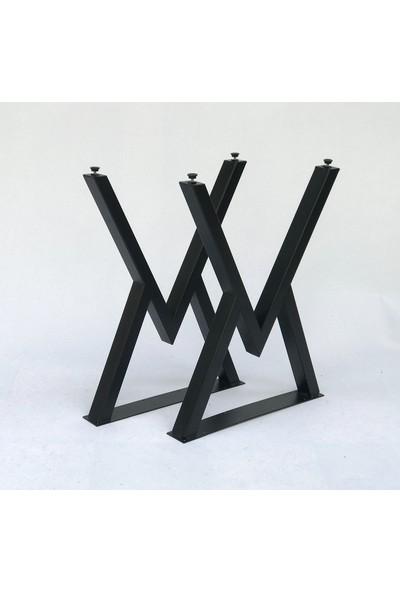 Metal Tasarım Atölyesi Mta V Siyah Mermer Desen Metal Ayaklı Mutfak Masası Takımı Masa Sandalye Takımı Yemek Masası - 4 Sandalye