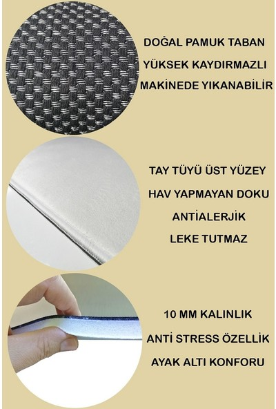 Evpanya Siyah Iskandinav 10 mm Tay Tüyü Makinada Yıkanabilir Halı