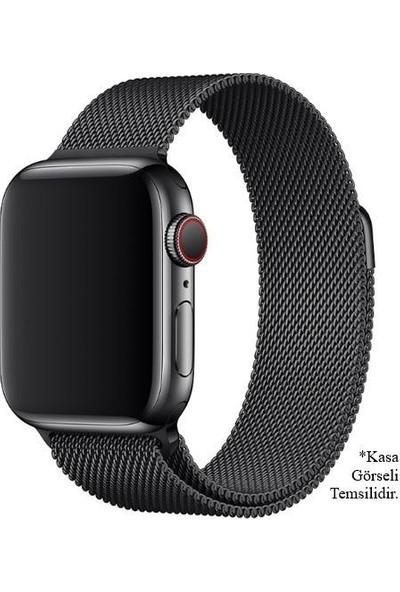 Engo Apple Watch Kordon 38 mm Paslanmaz Çelik Manyetik Kapatmalı Kayış Siyah