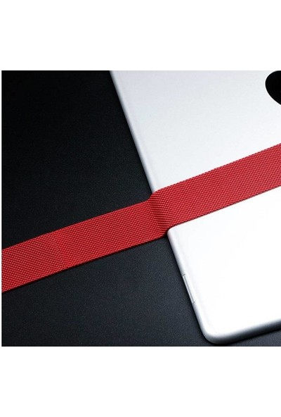 Engo Apple Watch Kordon 40 mm Paslanmaz Çelik Manyetik Kapatmalı Kayış Kırmızı