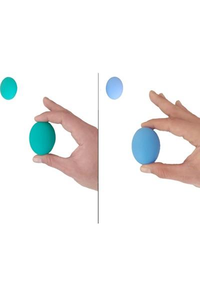 Raj 2li Set 2 Renk Silikon Stres Topu El Egzersiz Topu Fizik Tedavi Topu El Bilek Parmak Güçlendirme Top Yeşil-Mavi