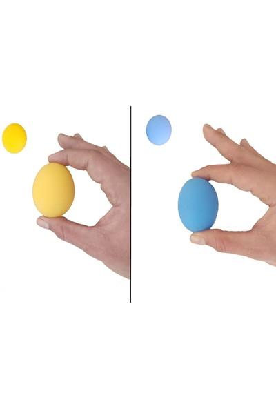 Raj 2li Set 2 Renk Silikon Stres Topu El Egzersiz Topu Fizik Tedavi Topu El Bilek Parmak Güçlendirme Top Sarı - Mavi