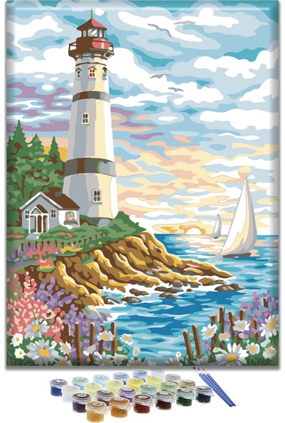 Doruk Baskı Deniz Feneri Sayılarla Boyama Seti 40 x 50 cm