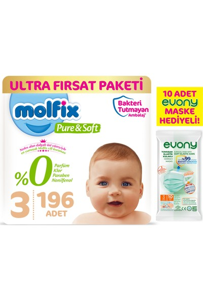 Molfix Pure&soft Bebek Bezi 3 Beden Midi Ultra Fırsat Paketi 196'LI + Evony 10'lu Maske
