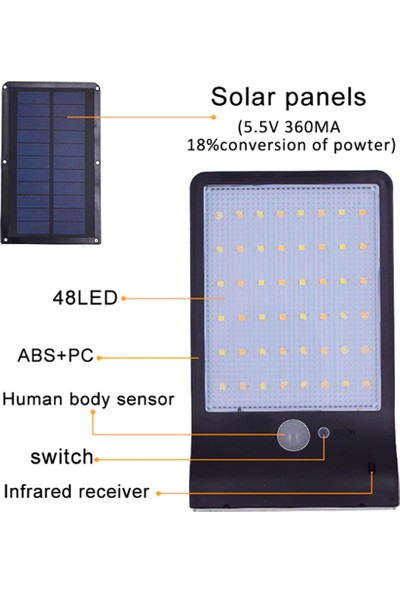 Mbw 48 LED Güneş Enerjili Duvar Işık Pır Hareket Sensörü Kutupsuz 48 LED (Yurt Dışından)