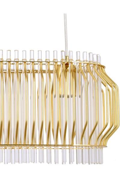 Çakır Aydınlatma Apollo Elips 3 Lü Sarkıt Gold Sarı Avize