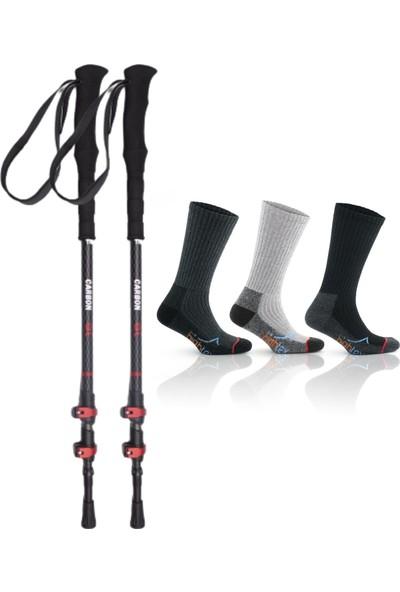 On My Way Carbon Quick-Lock Dıştan Kilitli Trekking Batonu 3 Çift 42-44 Trekking Çorabı